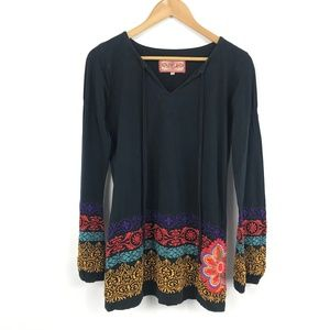 JWLA Johnny Was Black Embroidered Tunic Top